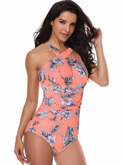 Halter-neck Printed One-piece Swimsuit