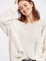 Fashion Loose Knit Long Sleeves Sweater Tops