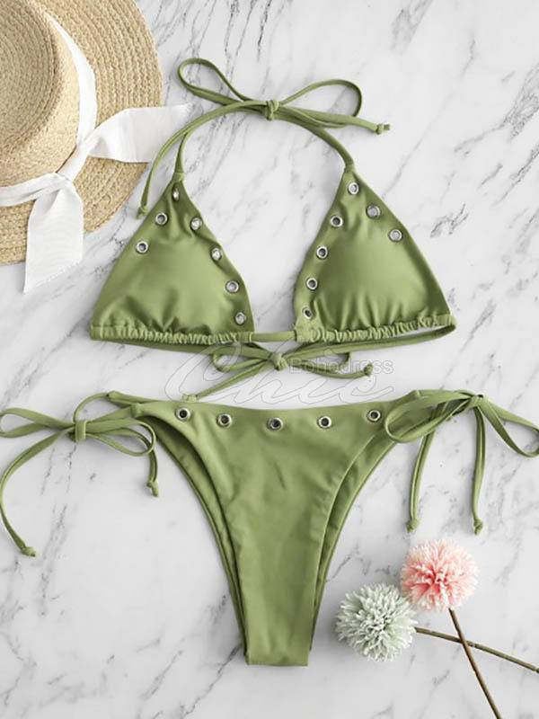 Embellished Triangle Bandage Split Bikini Swimsuit