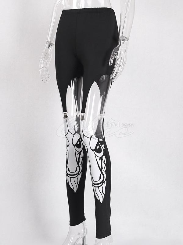 Gothic Hollow Printed Tight Pants
