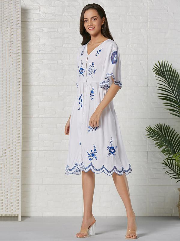 Bohemia EmbroideredHollow  Lace-trimmed Cotton Midi Dress