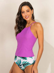 Flower Printed Spaghetti-neck High Waist Tankini Swimsuit