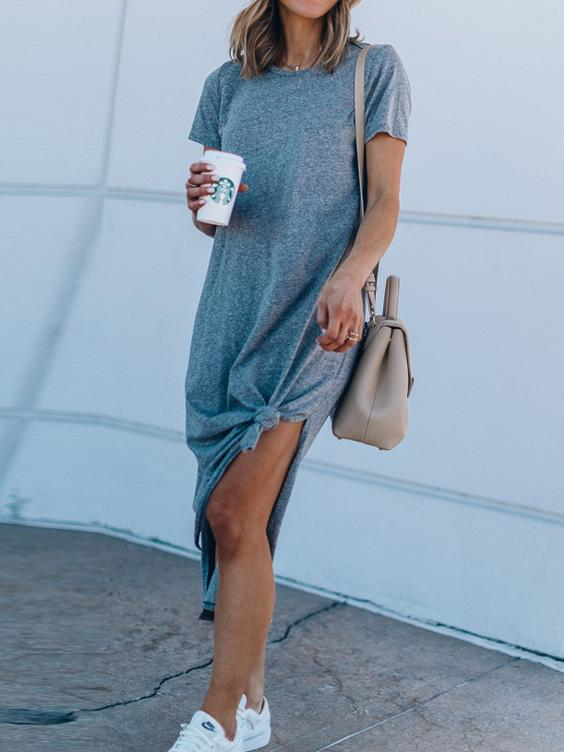 Solid Color Split-side Maxi Casual Dress