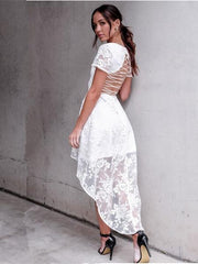 Asymmetric Lace V-neck Backless Midi Dress