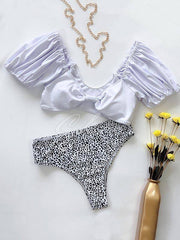 Bubble Sleeve Bow Bikini Swimsuit
