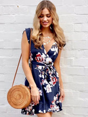 Bohemia Floral V-Neck Mini Dress