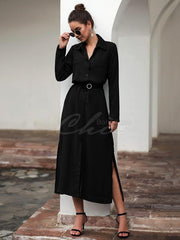 Button Shirt Collar Maxi Dress