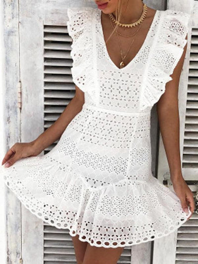 Bohemia White V-neck Mini Dresses