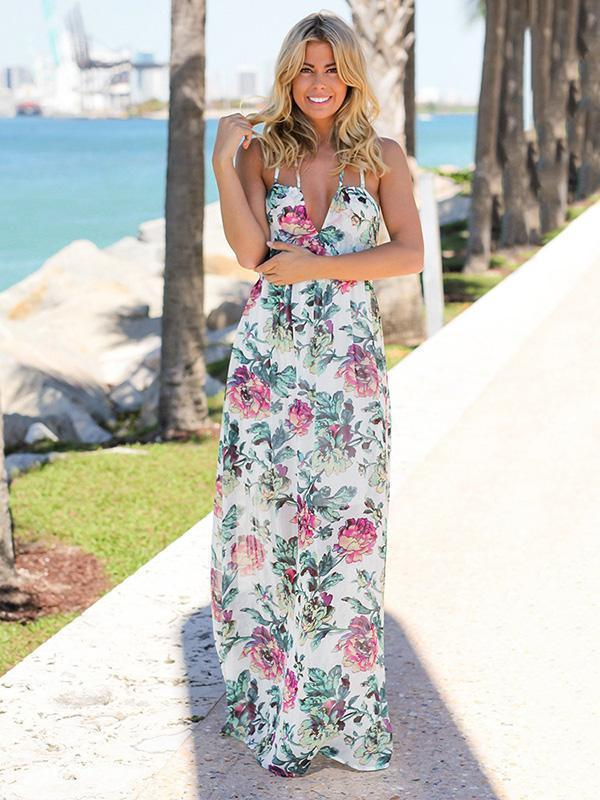 Chiffon Floral Backless Maxi Dresses