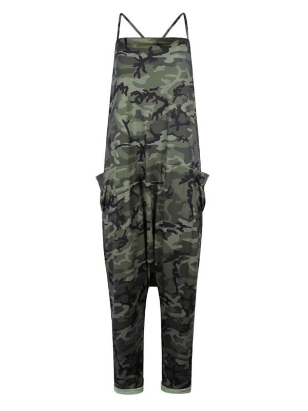 Camouflage Spaghetti-neck Jumpsuits