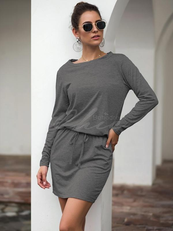 Casual Belted Round-neck Solid Color Dress