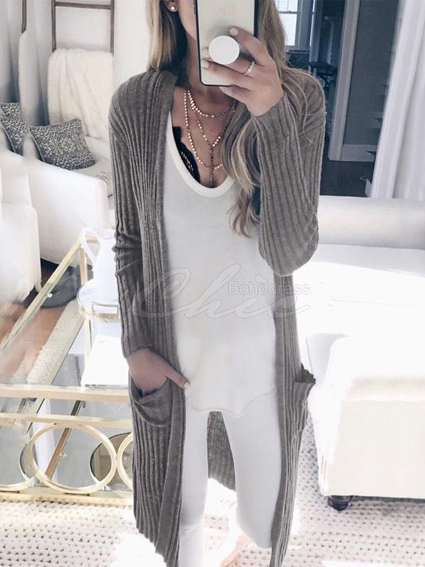 Solid Column Knitting Cardigan