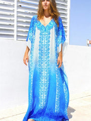 Blue And White Printed V-neck Maxi Dress
