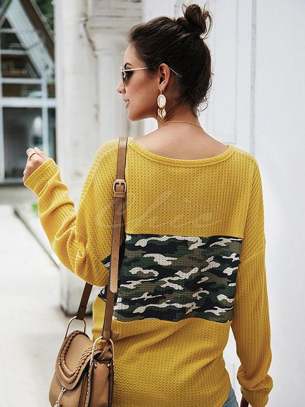 Camouflage Stitching V-neck Knit Sweater
