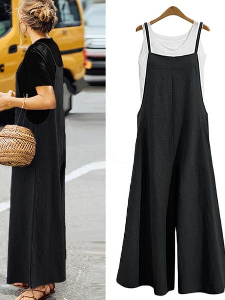 Women Loose Wide-Leg Casual Jumpsuit