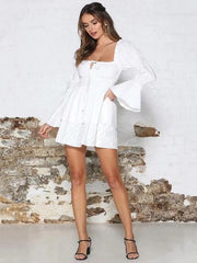 Solid Falbala Drawstring Mini Dress