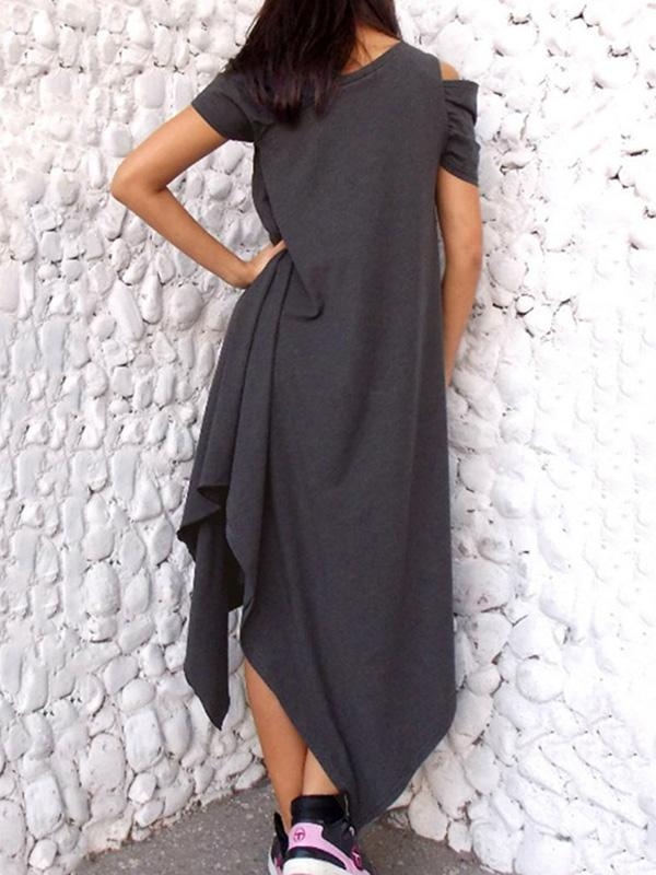 Casual Solid Cropped Midi Dresses