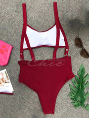 Adjusting Buckle Bandage Hollow One-Piece Swimwear