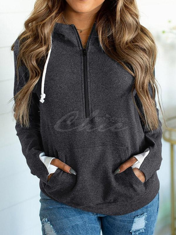 Contrast Color Casual Hoodie