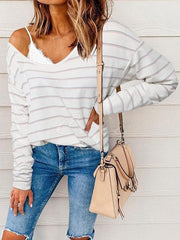 Colorful Striped One-shoulder Long-sleeved T-shirt