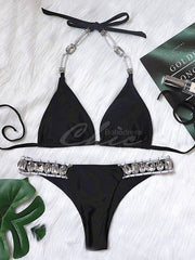 Gorgeous Embellished Triangles Bandage Split Bikini Swimsuit