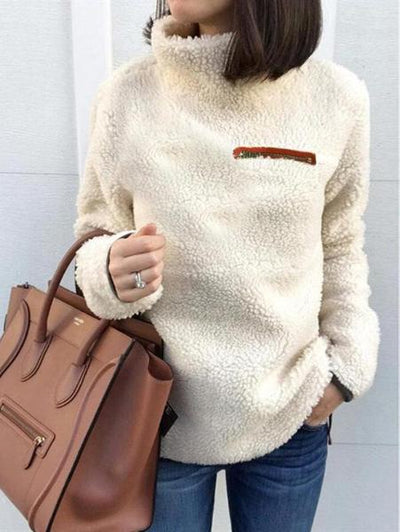 High Collar Plush Pullover