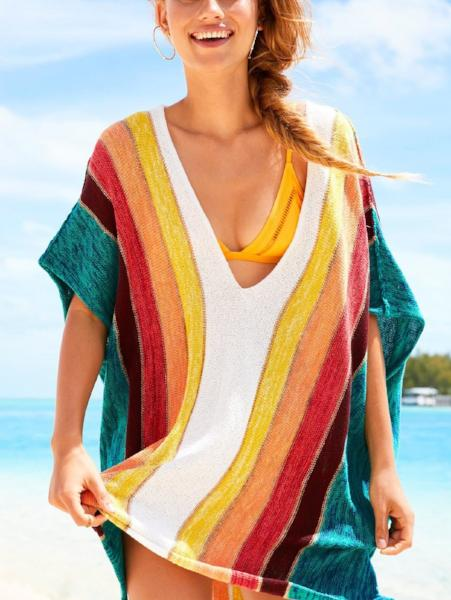 Rainbow V-Neck Loose Sweater