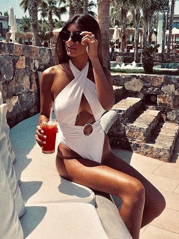 Backless Lace-Up One-Piece Swimwear