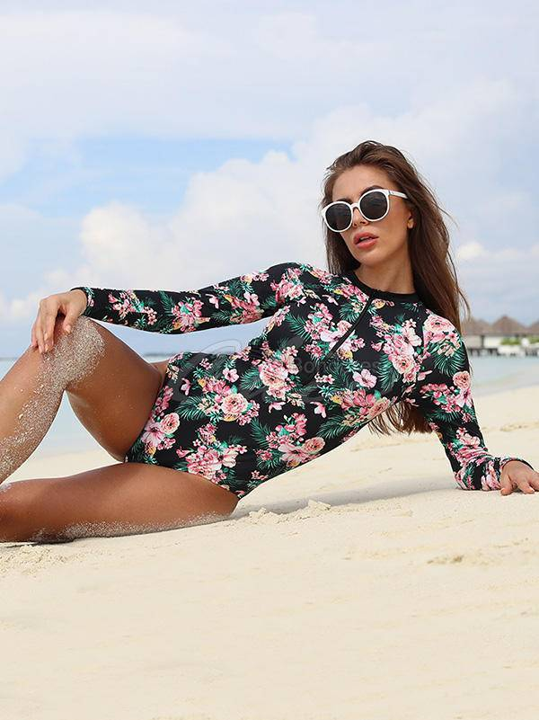 Floral-Print Long Sleeve One-Piece Wetsuit