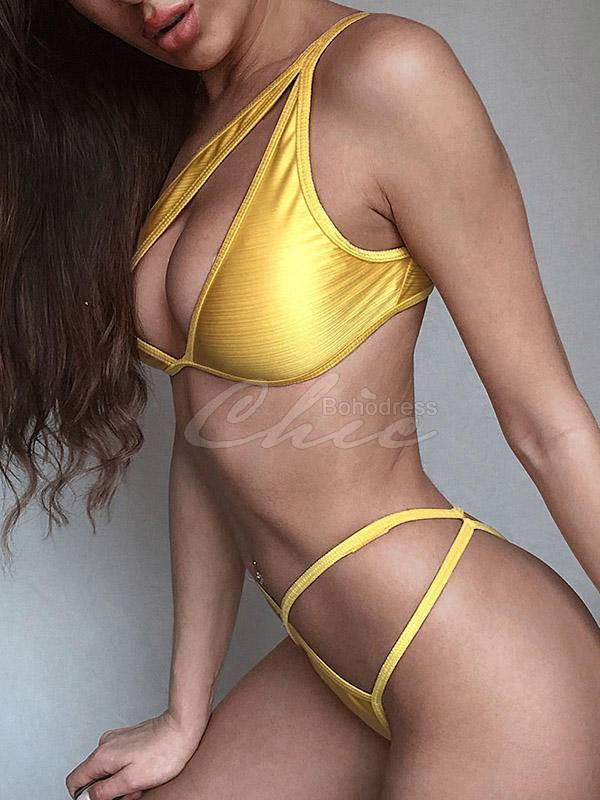 Asymmetric Hollow Split Bikini Swimsuit