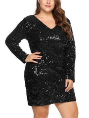 Plus-size V-Neck Sequin Dress