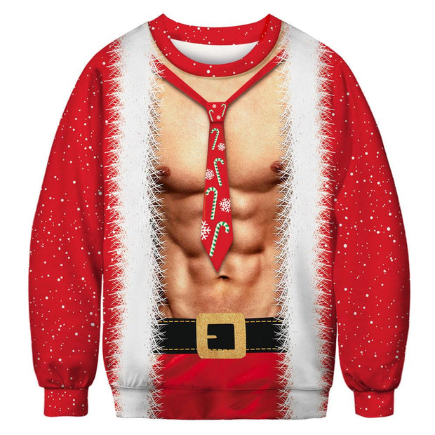 Christmas Muscle 3D Simulation Men's Shirt