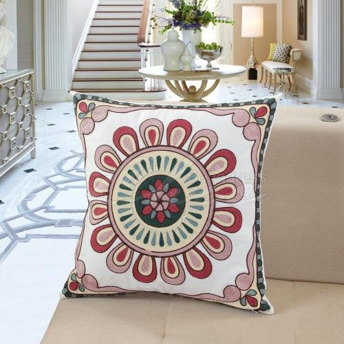 Embroidered Print Square Pillow Case