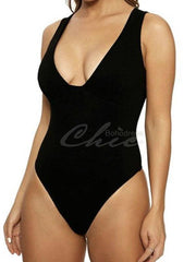 Solid Color V-Neck One-Piece Swimwear