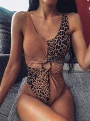 Asymmetric Split-Joint One-Piece Swimwear
