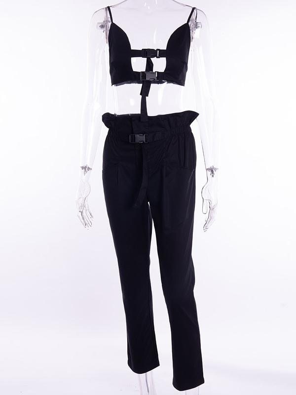 Solid Condole Belt Sports Suit
