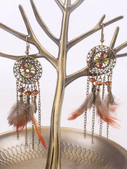Feather Tasseled Alloy Earrings