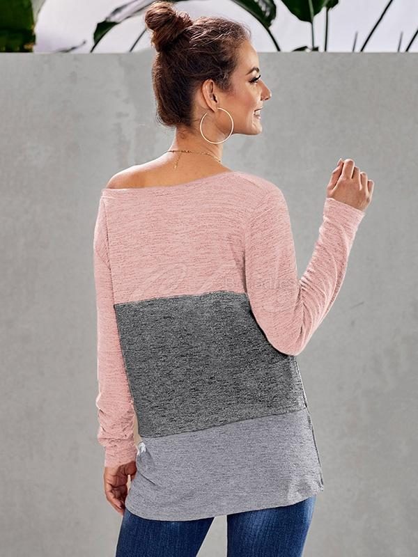 Contrast Color Long-sleeved Round Collar T-shirt
