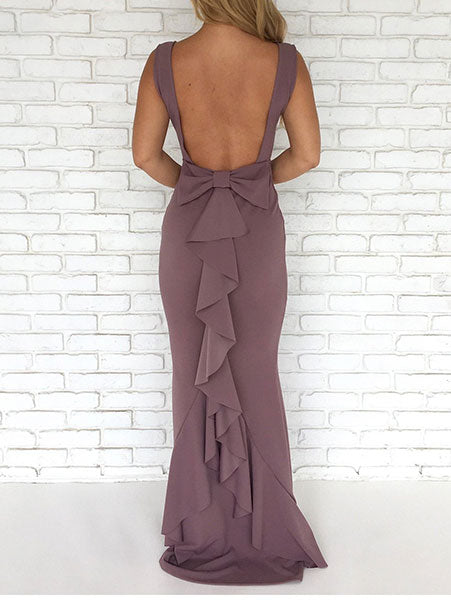 Backless Bow-Back Ruffle Maxi Dress