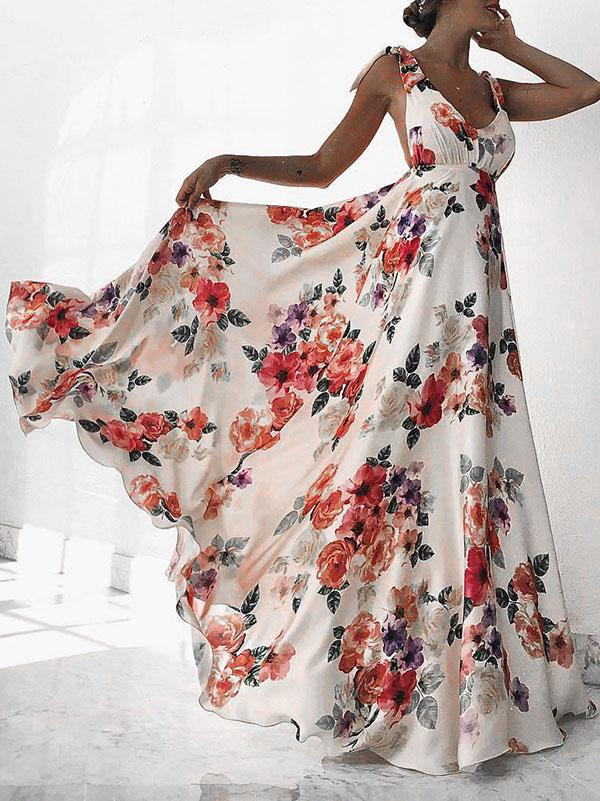 Backless Print Dress