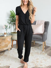 Solid Color V-Neck Jumpsuit