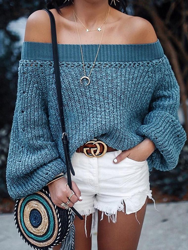 Blue One Shoulder Long Sleeve Sweater