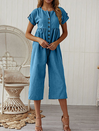 Button-Front Round Neck Jumpsuit