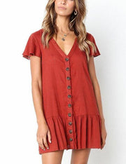 Buttoned Ruffled Dress