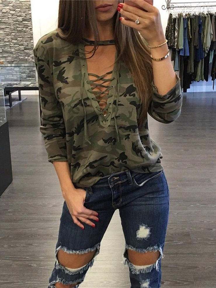 Camo Print Long Sleeve T-shirt