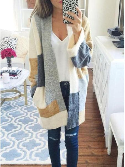 Cardigan Stitching Sweater