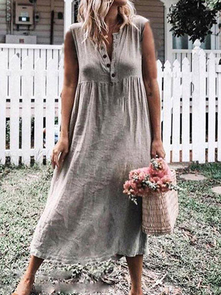 Casual Button-Front V Neck Dress