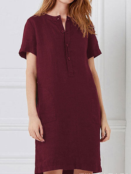 Casual Loose Button-Front Knee-Length Dress