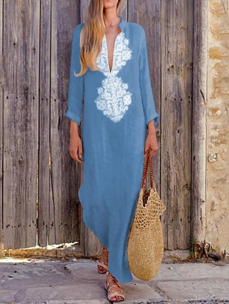 Casual Deep V Cotton And Linen Dress