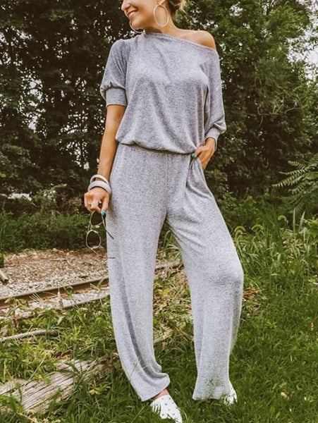 Casual Loose One-Shoulder Jumpsuit
